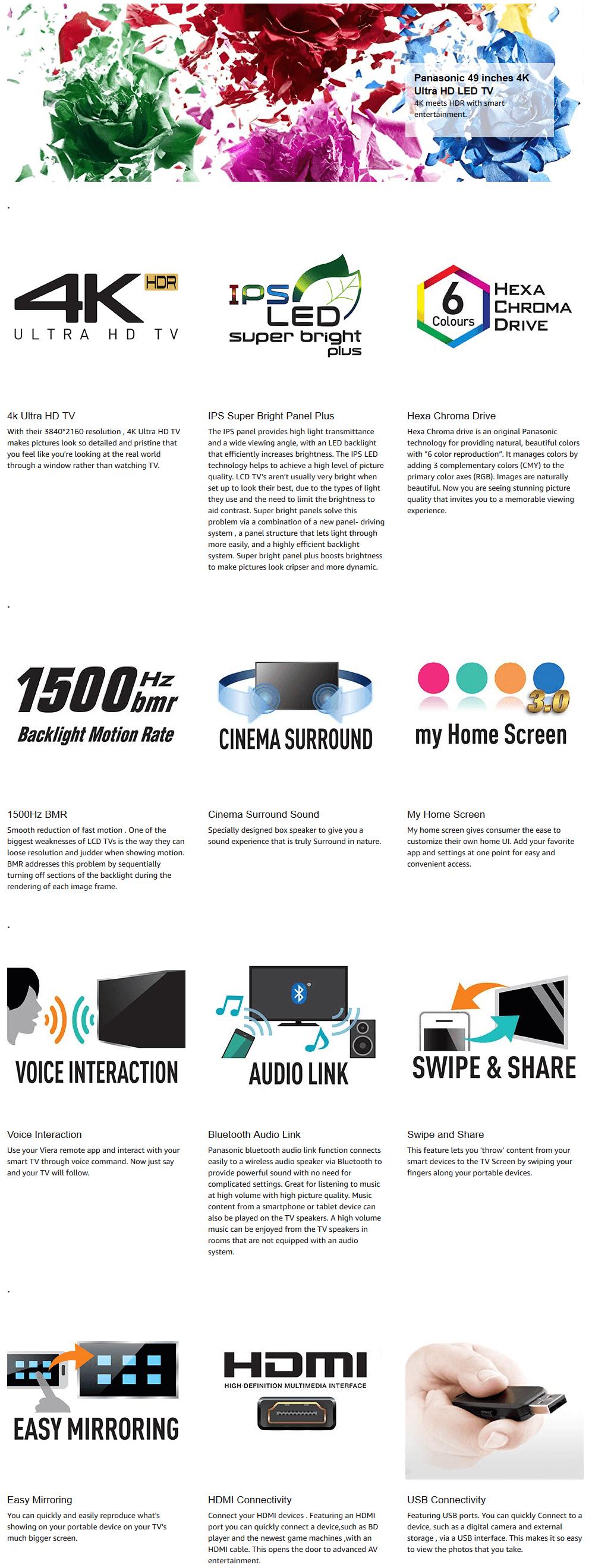 Panasonic FX650 Series 123cm (49 inch) Ultra HD (4K) LED Smart TV  (TH-49FX650D)